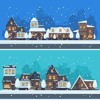 Cidade de neve de inverno. paisagem urbana com paisagem de vetor de edifícios de férias casas temporada. ilustração rua casa urbana, rua sazonal de inverno