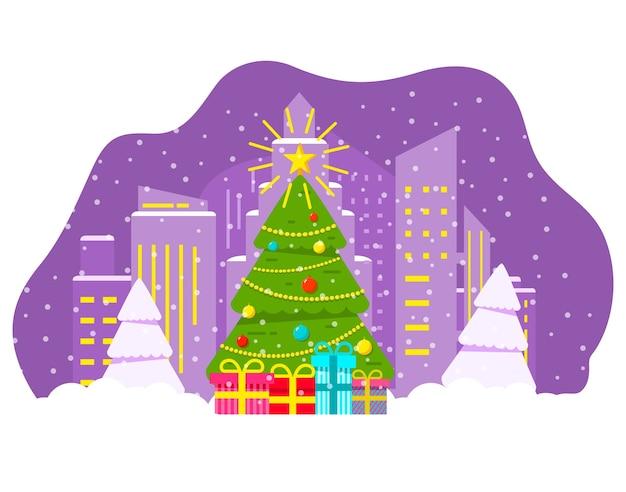 Cidade de noite de inverno com neve caindo árvore de natal decorada