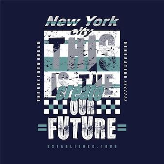 Cidade de nova york com letras de slogan