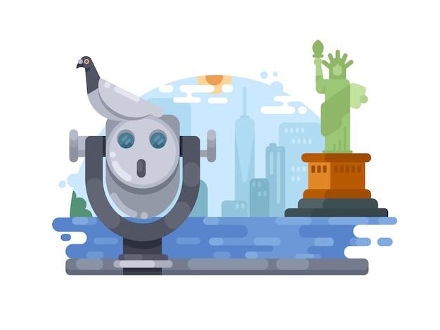 Cidade de nova york. vista da cidade e da estátua da liberdade. ilustração vetorial