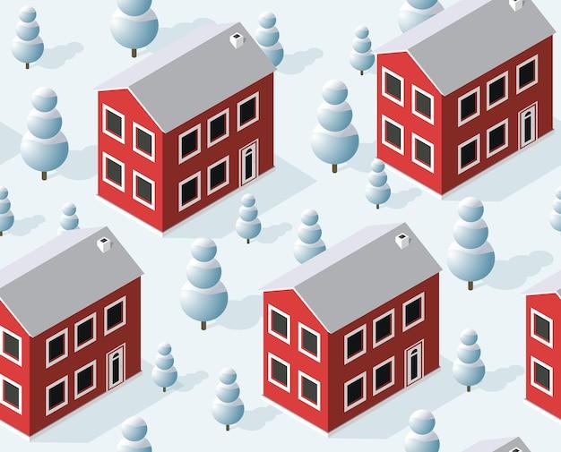 Cidade de padrão sem costura isométrica, trimestre urbano de inverno na neve