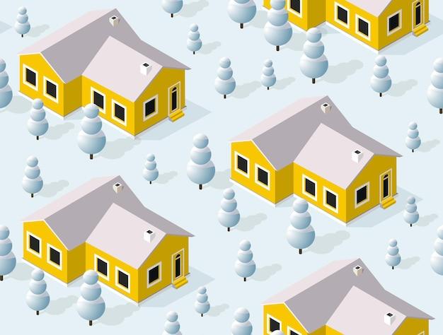 Cidade de padrão sem emenda de inverno isométrica urbana na neve
