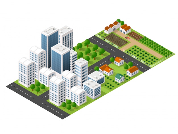Cidade de perspectiva isométrica com ruas, casas, arranha-céus