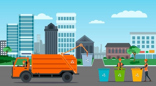Cidade de reciclagem de resíduos com ilustração de caminhão de lixo