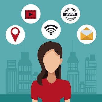 Cidade de silhueta com tecnologia de conectividade de mulher e ícones
