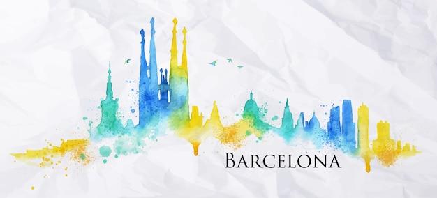 Cidade de silhueta de barcelona