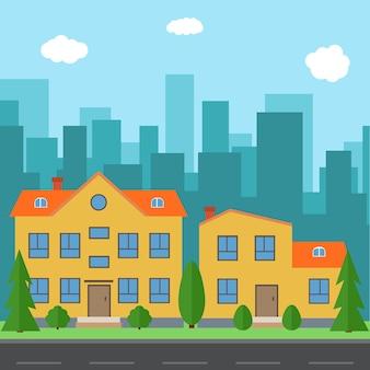 Cidade de vetor com casas e edifícios de desenhos animados. espaço da cidade com estrada no conceito de plano de fundo de estilo. paisagem urbana de verão. street view com vista da cidade em um fundo
