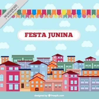 Cidade decorada comemorando fundo junina festa