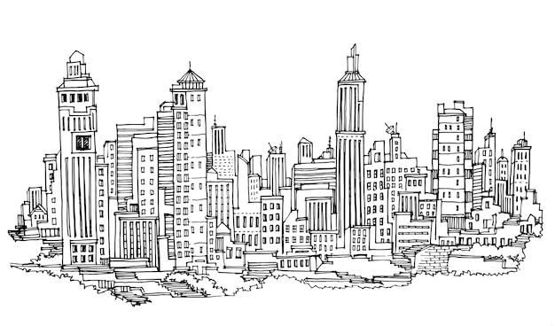 Cidade desenhada de mão