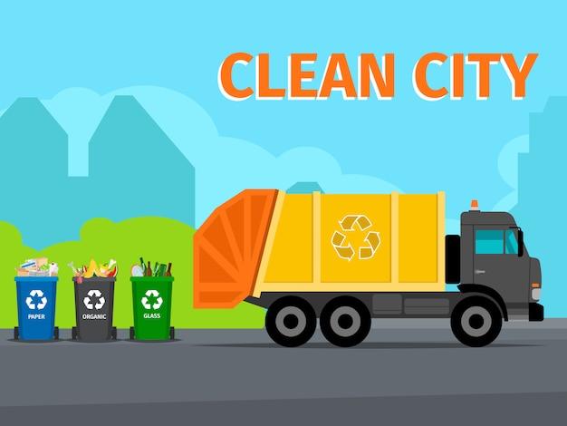 Cidade, desperdício, reciclagem, conceito