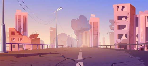 Cidade destruída em zona de guerra