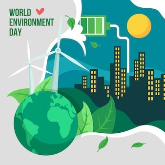 Cidade do dia mundial do meio ambiente à noite