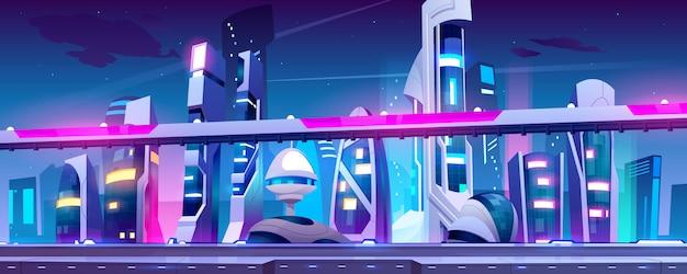 Cidade do futuro com arranha-céus e viaduto