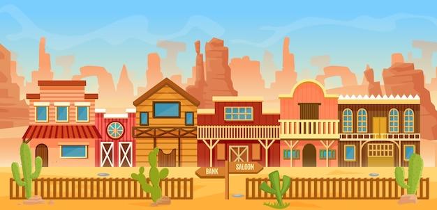 Cidade do oeste americano em paisagem desértica, cenário de desenho animado com casas antigas, casa, bar saloon ou banco