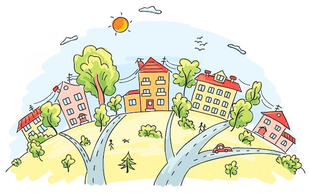 Cidade dos desenhos animados em uma colina