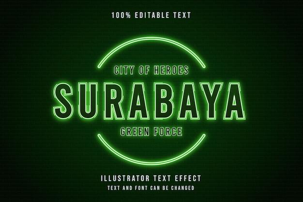 Cidade dos heróis surabaya, estilo de texto 3d editável com efeito de texto verde neon