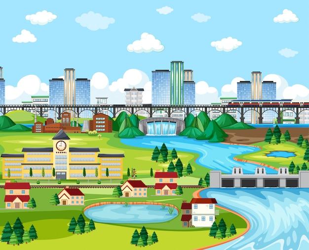 Cidade e escola e céu treinam ponte com estilo de desenho animado de cena de paisagem de lado de barragem