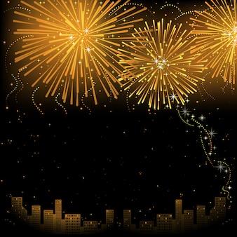 Cidade e fogo de artifício dourado