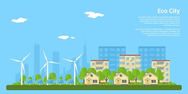 Cidade ecológica verde com casas privadas, casas de painéis, turbinas eólicas e painéis solares, conceito de estilo para energia renovável e tecnologias ecológicas