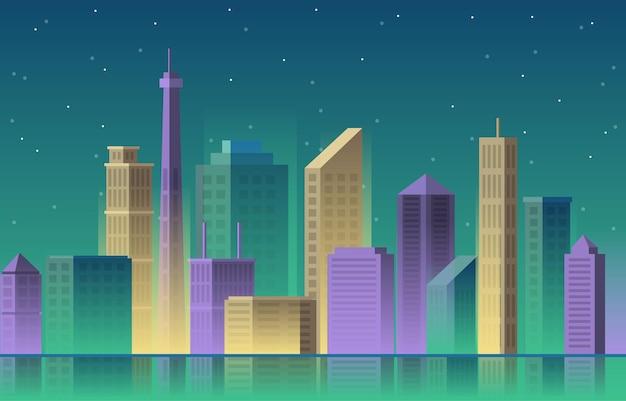 Cidade edifício arquitetura construção paisagem urbana horizonte negócios ilustração