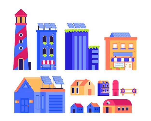 Cidade edifício cidade farol celeiro casa garagem loja design ilustração plana