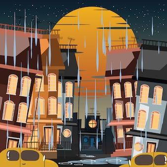 Cidade em ilustração vetorial de dia chuvoso