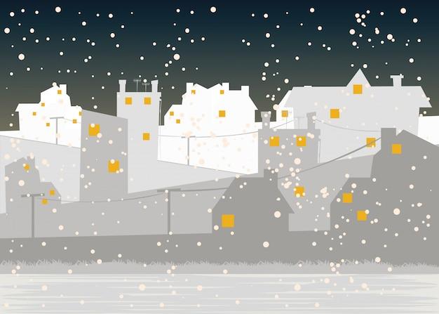 Cidade em ilustração vetorial de temporada de inverno