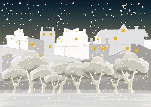 Cidade, em, invernos, vetorial, ilustração