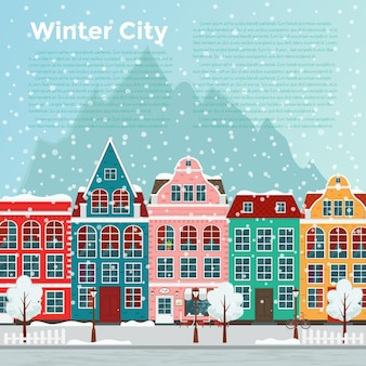Cidade europeia de inverno. apartamento