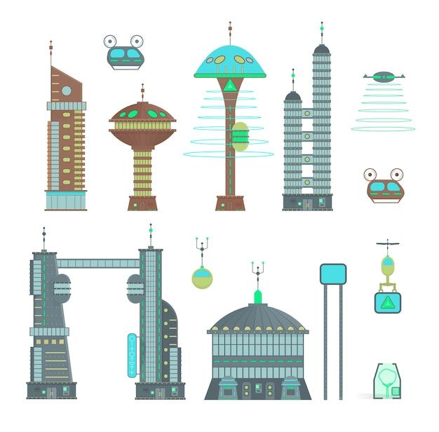 Cidade futurista definida em estilo de design cartoon. panorama de uma cidade moderna com edifícios modernos e tráfego futurista: arranha-céus, carros voadores e drones.