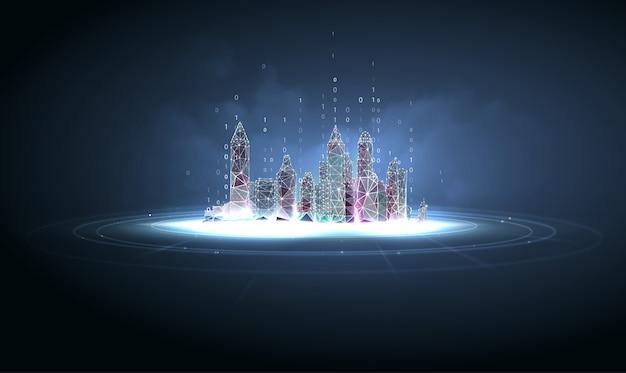 Cidade futurista em estilo de estrutura de arame poligonal