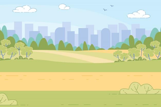 Cidade futurista no vale verde entre montanhas,