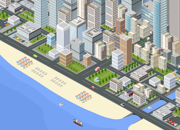 Cidade grande isométrica de ilustração