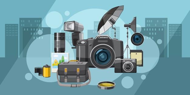 Cidade horizontal do fundo do estúdio da foto, estilo dos desenhos animados