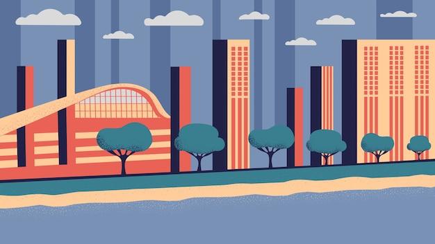 Cidade industrial com edifícios e arranha-céus.