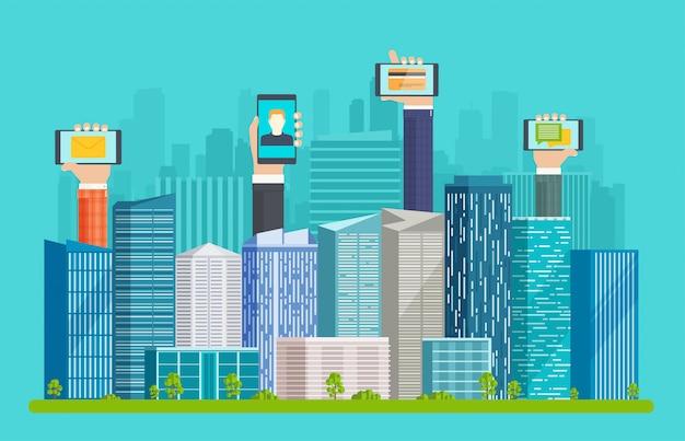 Cidade inteligente, com arranha-céus e mãos