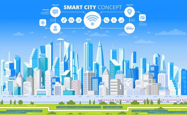 Cidade inteligente com elementos de infográfico.
