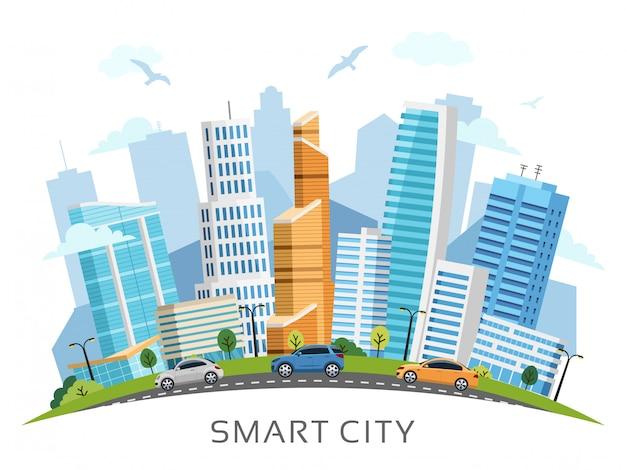 Cidade inteligente com fundo de arranha-céus