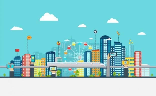 Cidade inteligente com sinais de negócios,