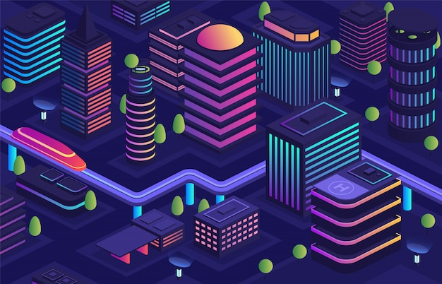 Cidade inteligente com um estilo futurista, uma cidade do futuro. centro de negócios, abrigando prédios urbanos com arranha-céus, moderna via aérea de transporte urbano, tecnologias de transmissão de dados em toda a cidade.