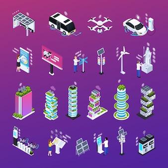 Cidade inteligente conjunto com tecnologia, ilustração vetorial de ícones isométricos isolados