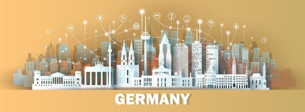 Cidade inteligente de comunicação de rede sem fio de tecnologia com arquitetura na alemanha em estilo de corte de papel
