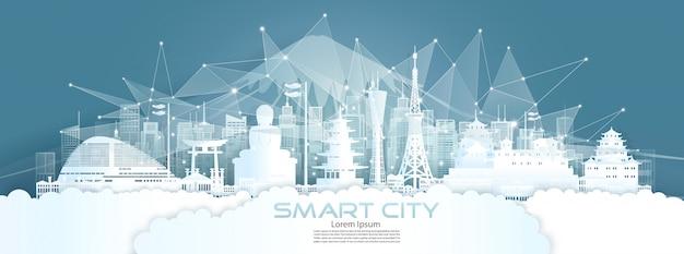 Cidade inteligente de comunicação de rede sem fio de tecnologia com arquitetura no japão.