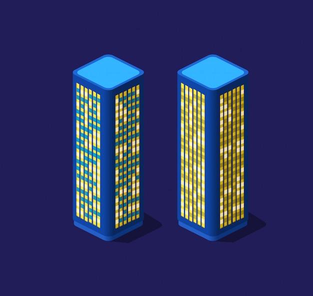 Cidade inteligente de ilustração 3d em um ultravioleta roxo