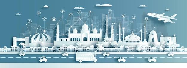 Cidade inteligente do paquistão em estilo recortado de papel