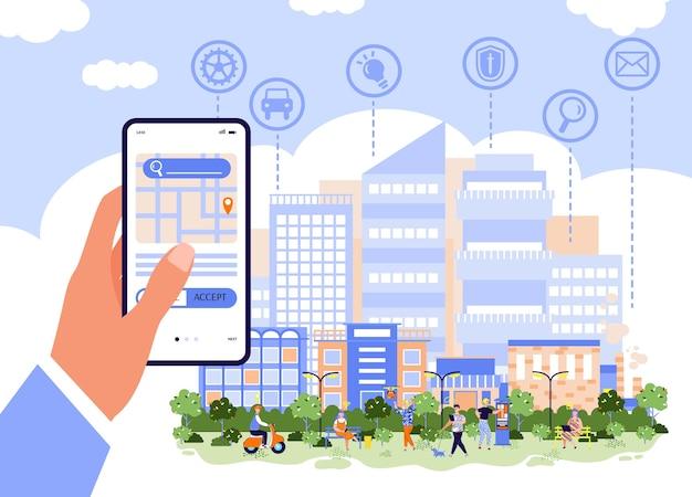 Cidade inteligente e conceito de aplicativo de negócios online