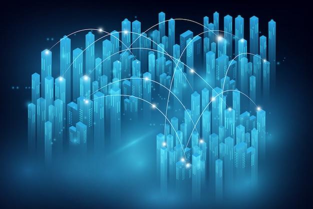 Cidade inteligente e conceito de rede de telecomunicações. mídia mista abstrata