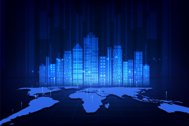 Cidade inteligente e conceito de rede de telecomunicações