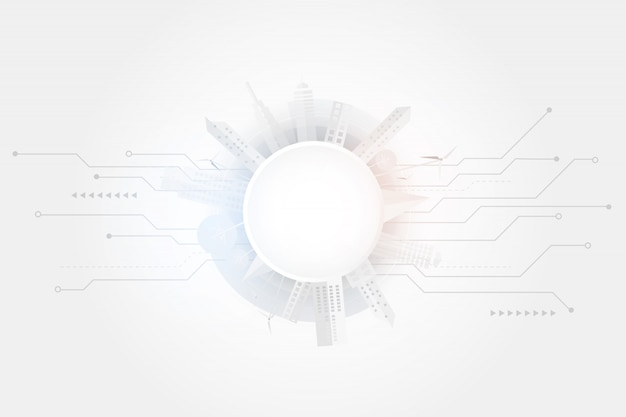 Cidade inteligente e fundo de conexão de alta tecnologia cinza e branco