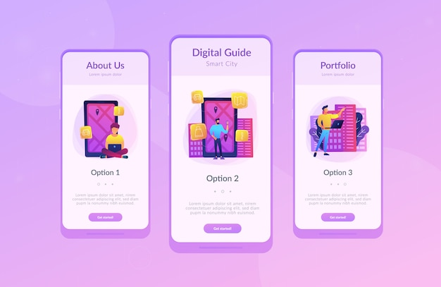 Cidade inteligente e modelo de interface de aplicativo de guia de cidade digital.
